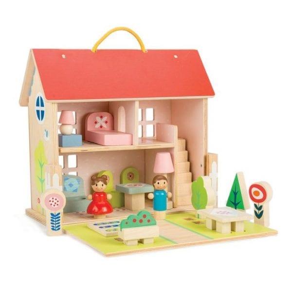 Wooden dolls house set