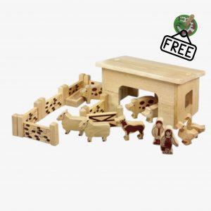 Lanka Kade Pig and Sheep Barn – 18 Natural Wooden Pieces