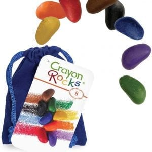Crayon Rocks Eight – 8 Crayon Rocks in a Blue Velvet Bag