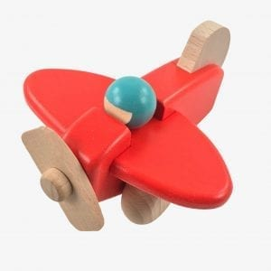 Bajo Small Plane – Wooden Plane Toy in Red