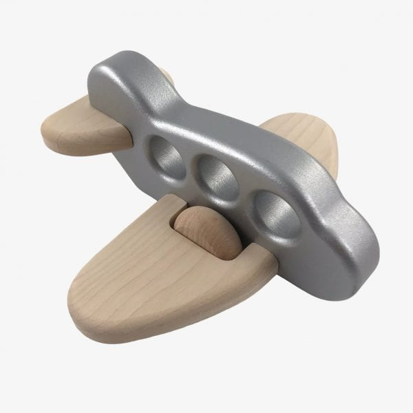 Large Bajo Plane - Wooden Plane Toy in Silver