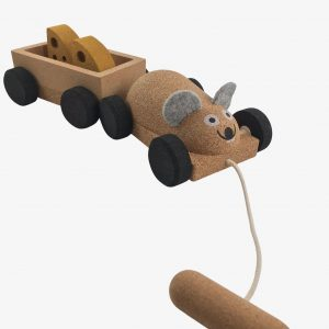 Elou Mouse and Trailer Cork Toy